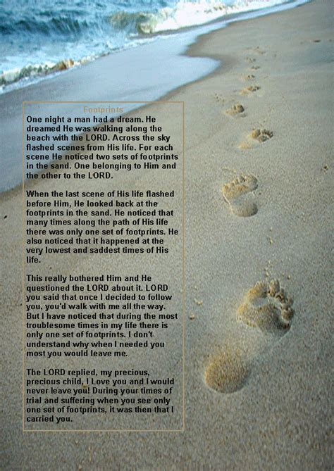 printable version of footprints in the sand poem original poem footprints sand footprints prayer image