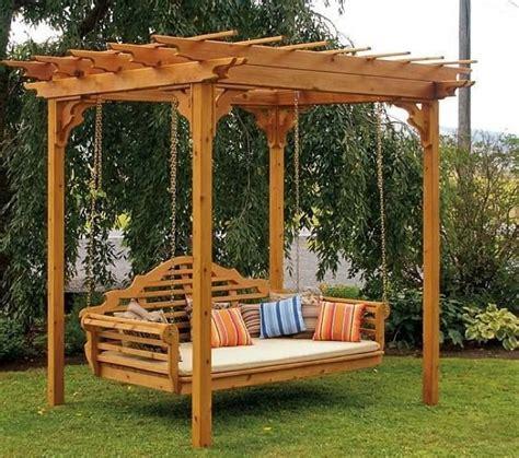 cedar pergola swing bed stand how to build a pergola swing
