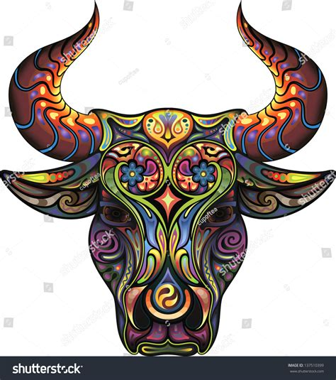 bull silhouette head bull collected plant stock vector
