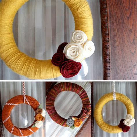 Handmade Creative Ideas - tutorial autumn yarn wreath diy wreath oh