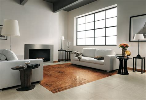 brown white modern living room tiled floor interior design ideas