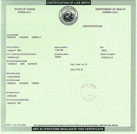Hawaii Birth Certificate Records Create Your Own Barack Obama Hawaiian Birth Cetification
