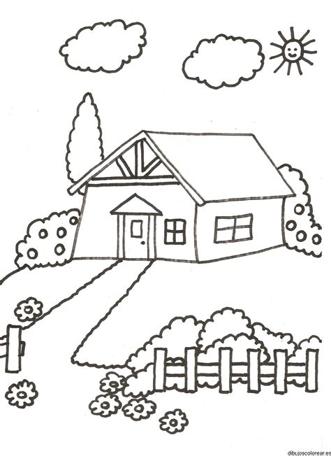imagenes para colorear jardin dibujos de casas