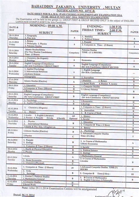 bzu ba bsc supplementary exams 2014 date sheet