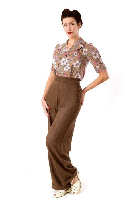 swing fashion style heyday 1940s style ladies swing trousers in brown