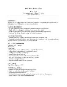 Resume Exles Pizza Cook Resume Maker Best Template Collection