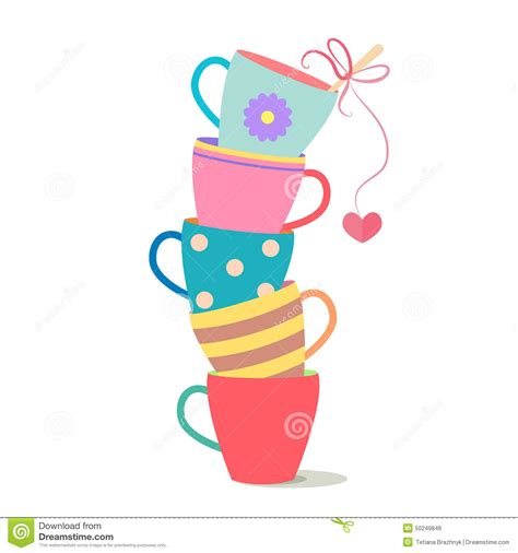 Stack Of Colorful Coffee Cups Stock Vector   Image: 50249846