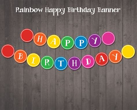 printable happy birthday banner printable rainbow party banner happy birthday by