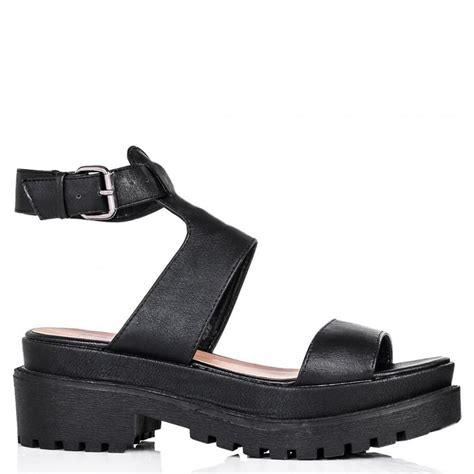 black leather platform sandals buy tobago chunky cleated sole platform sandal shoes black