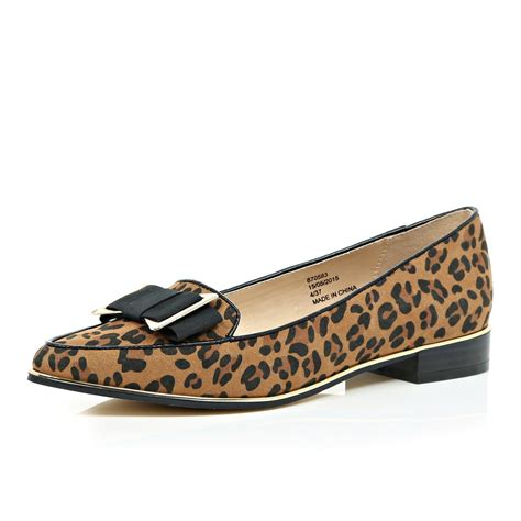 animal print flats shoes river island brown leopard print bow flats in beige