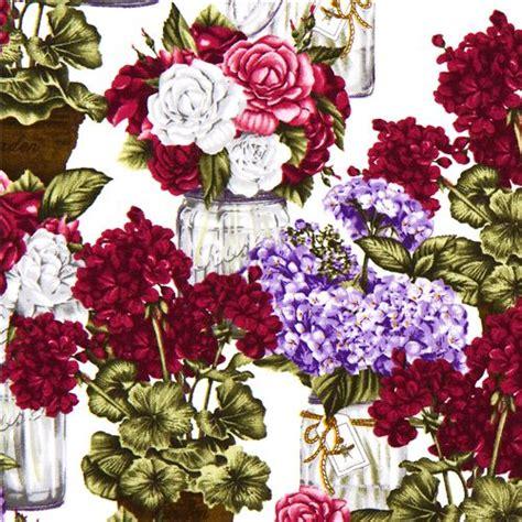tessuti fiorati tessuto robert kaufman bouquet di fiori viola in vaso
