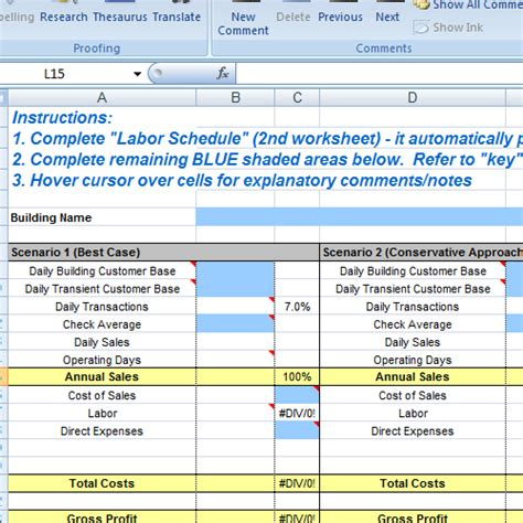restaurant excel spreadsheets download
