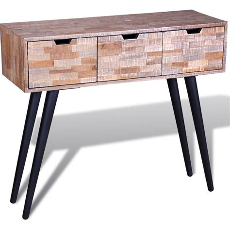 teak console table with drawers reclaimed teak wood console hall table w 3 drawers buy