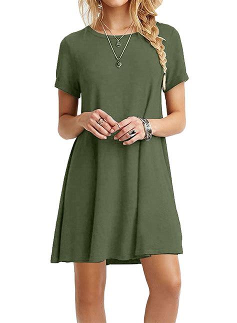 loose swing dress women s casual short sleeve swing t shirt loose dress