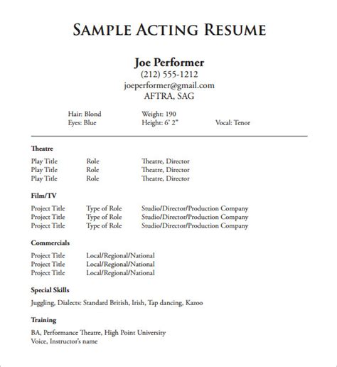 actors resume exle acting resume template 8 free word excel pdf format