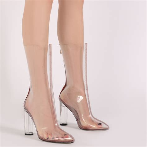 shoes high heels boots womens zip up see through perspex high heels ankle boots