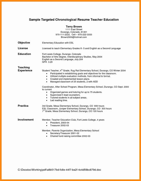 resume for teachers exles ideas collection resumes for teachers exles resume exle