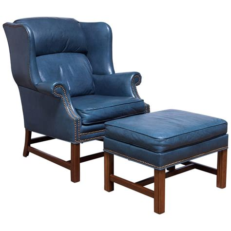 Blue Wingback Chair by Blue Chippendale Mahogany Wing Chair By Schafer