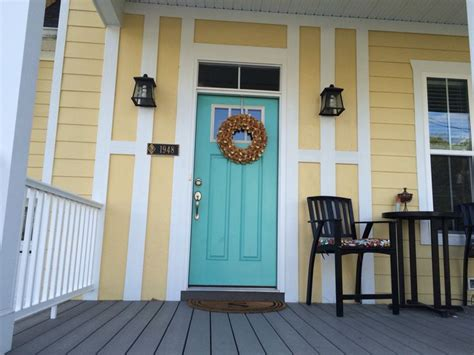 aqua door yellow house paint colors sw cooled blue sw