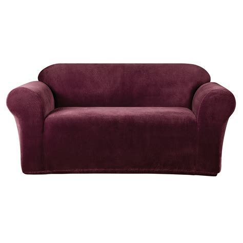 burgundy slipcovers sure fit stretch metro sofa slipcover burgundy ebay
