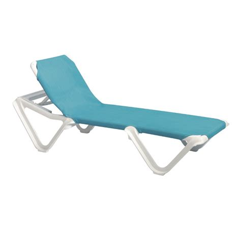 Sling Chaise Lounge Chair by Grosfillex Nautical Adjustable Resin Sling Chaise Lounge
