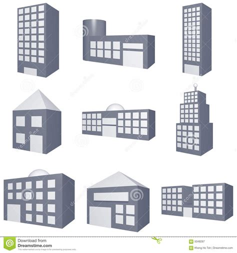 architecture building type identification guide different types of buildings icons set royalty free stock