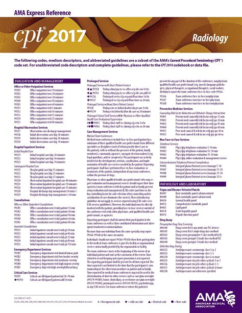 cpt 2017 express reference coding card radiology oregon
