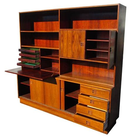 Bookcase With Drop Desk by Vintage Rosewood Poul Hundevad Wall Unit Bookcase Drop