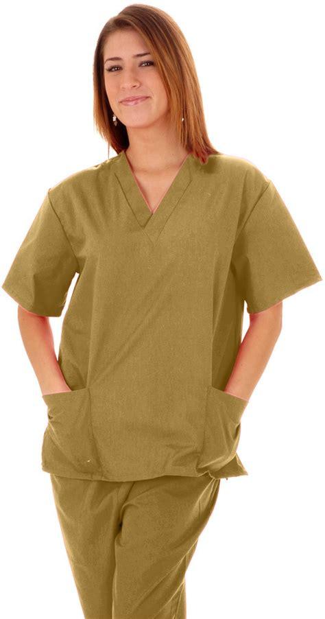 Scrub Kaki wholesale m m scrubs unisex scrub set scrub top and xl khaki sku 1924629