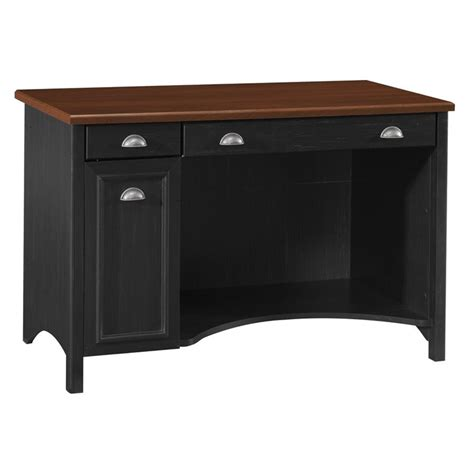 Bush Stanford Wood W Hutch Black Computer Desk Black Desk