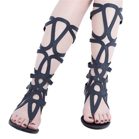 knee high gladiator sandals for sale new gladiator flat heel lace up knee high strappy sandals