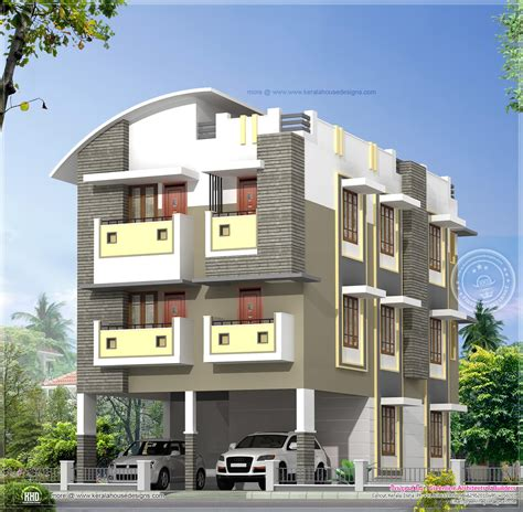 three story home plans 3 story home design in 3630 sq kerala home design