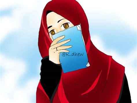 kartun muslimah membaca alquran  buku anak cemerlang