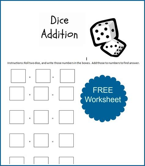free printable dice addition worksheets probabilities tree diagram worksheet probabilities free