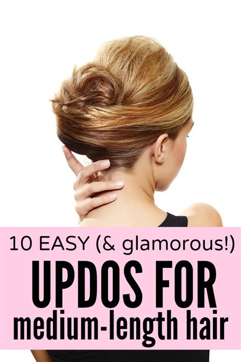 soft updo fine medium hair with bangs 10 easy glamorous updos for medium length hair