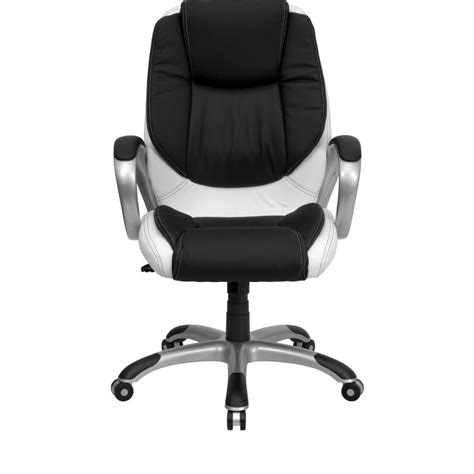 black and white desk chair mid back black and white leather executive swivel office chair