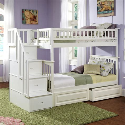 white twin bedroom furniture shop atlantic furniture columbia white twin over twin bunk bed at lowes com
