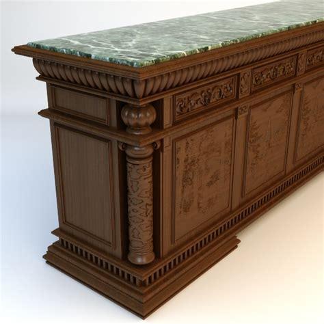 antique marble top bar 3d model max obj 3ds fbx