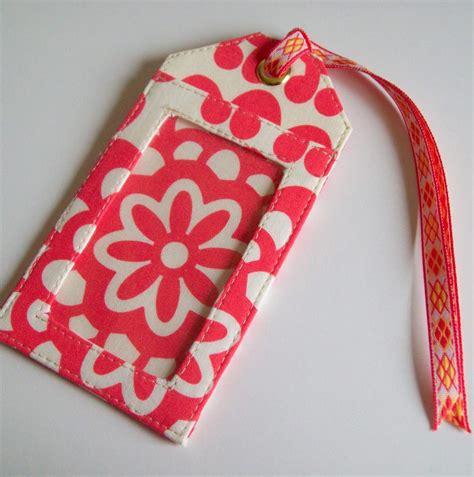 printable fabric name tags fabric luggage tag made with amy butler fabric