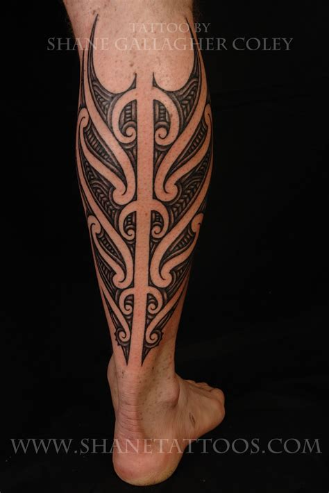 calf tattoo design shane tattoos maori calf