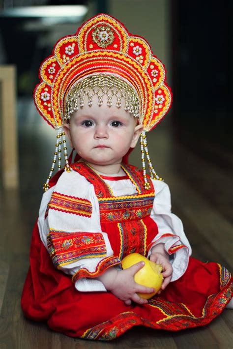 Babies Cultures a toddler is dressed in russian traditional costume russian folk in