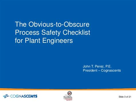 Rice Mba Application Process by Obvious To Obscure Process Safety Checklist For Plant