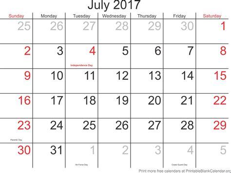 july calendar template july 2017 printable calendar printable blank calendar org