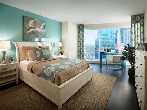 blooming turquoise and brown bedroom with prints patterns