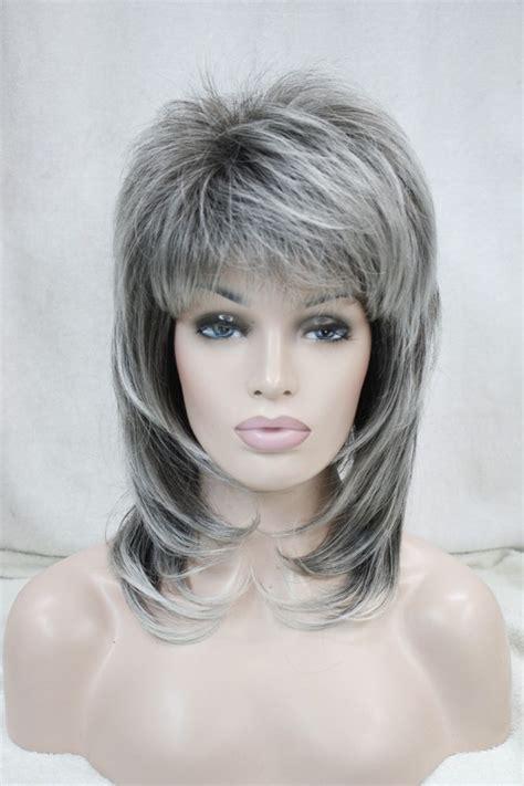 mid lenght hair men grey new medium length grey dark root layered shoulder long