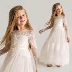 Girl dress long sleeve pageant dress 2016 lace flower girl dress