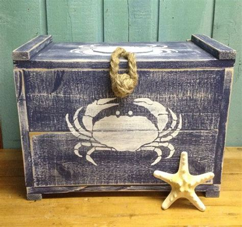 crab decorations for home crab crate navy blue trunk chest box by castawayshall