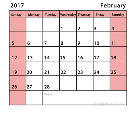calendar templates for february 2017 printable