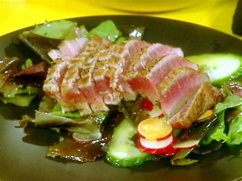 ahi tuna steak recipes food network seared ahi tuna and salad of mixed greens with wasabi