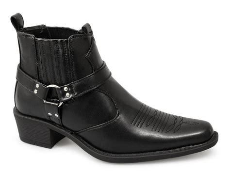 us brass mens eastwood black brown cuban heel cowboy ankle